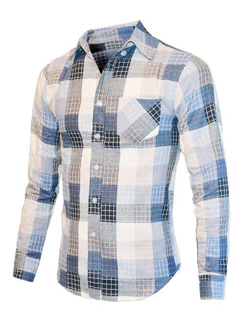 Checked Color Block Turn-Down Collar Long Sleeve Mens ShirtMen<br><br><br>Size: XL<br>Color: BLUE