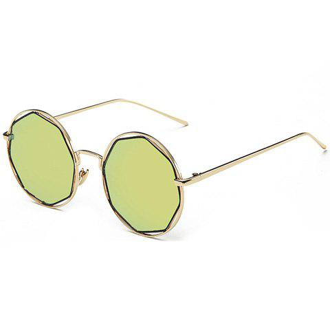 Stylish Polygonal Flash Lens Hollow Out Women's Golden Round Mirrored Sunglasses