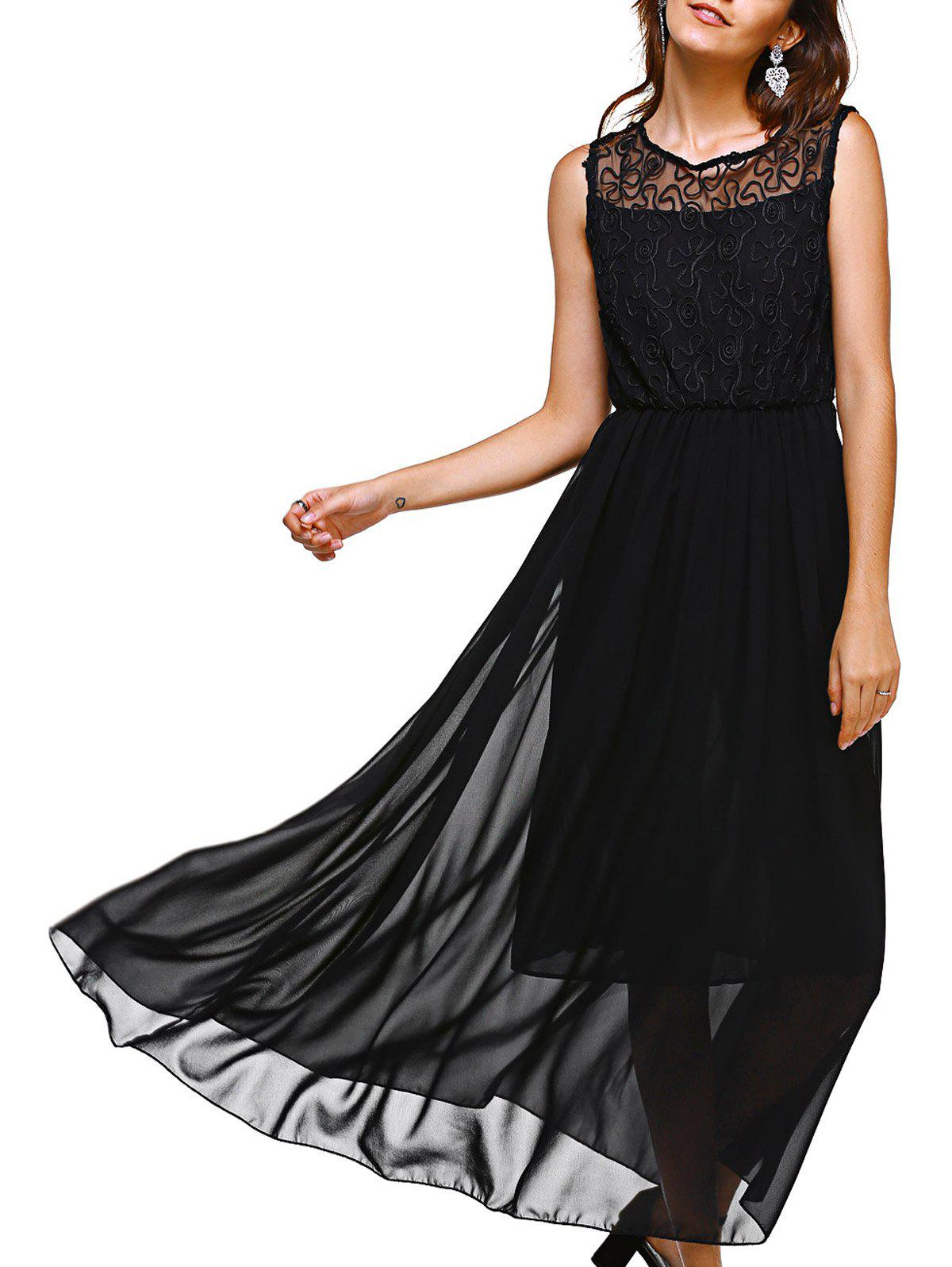Simple Style See-Through Sleeveless Women's Maxi Dress - BLACK ONE SIZE(FIT SIZE XS TO M)