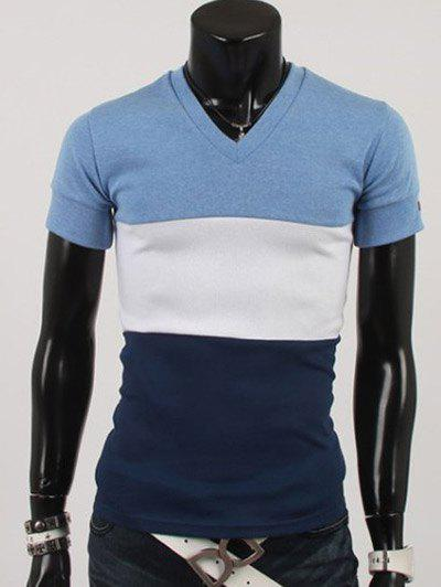 Modish V-Neck Hit Color Spliciing Short Sleeve Men's T-Shirt - BLUE 2XL