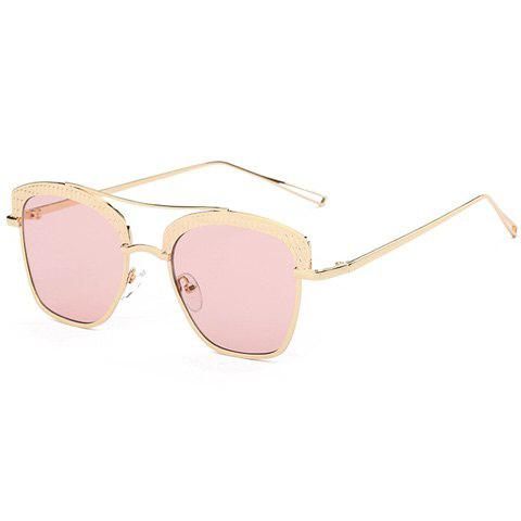 Stylish Cobblestone Shape Embellished Women's Golden Mirrored Sunglasses - ROSE