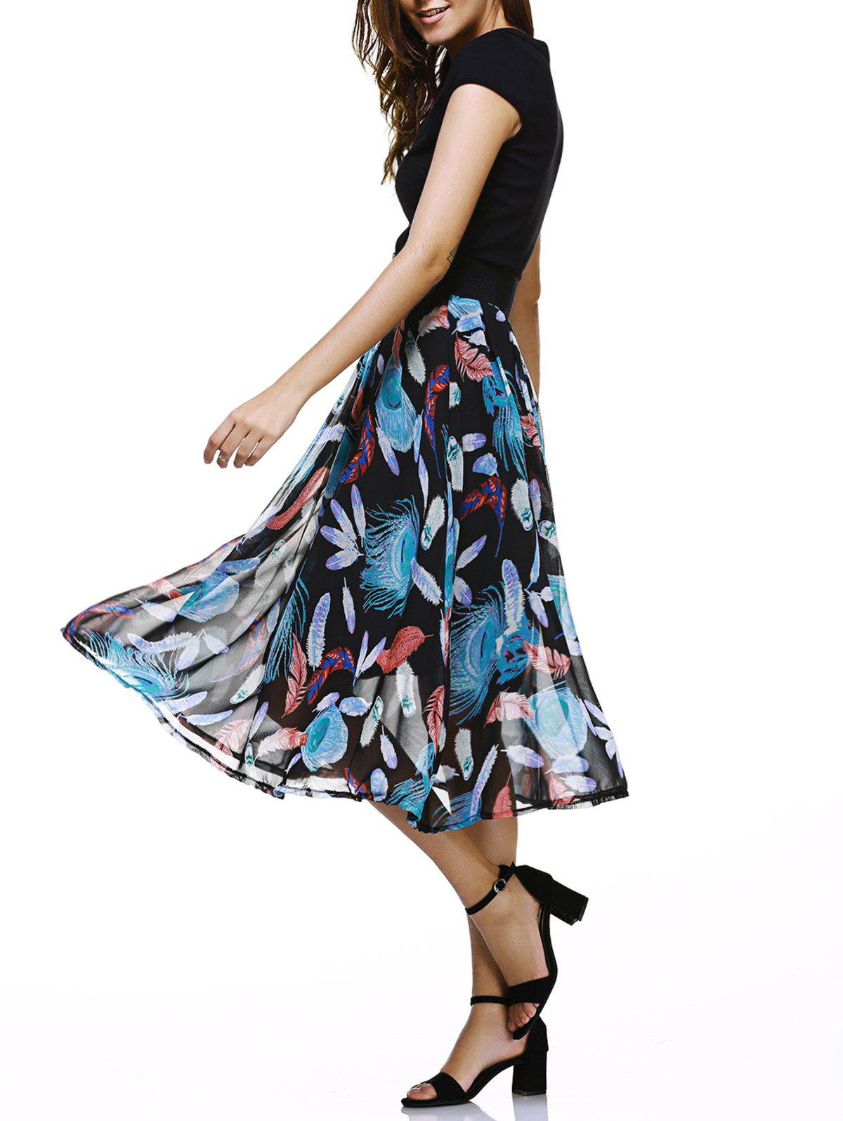 Chic Feather Print Kintted Splicing Women's Dress