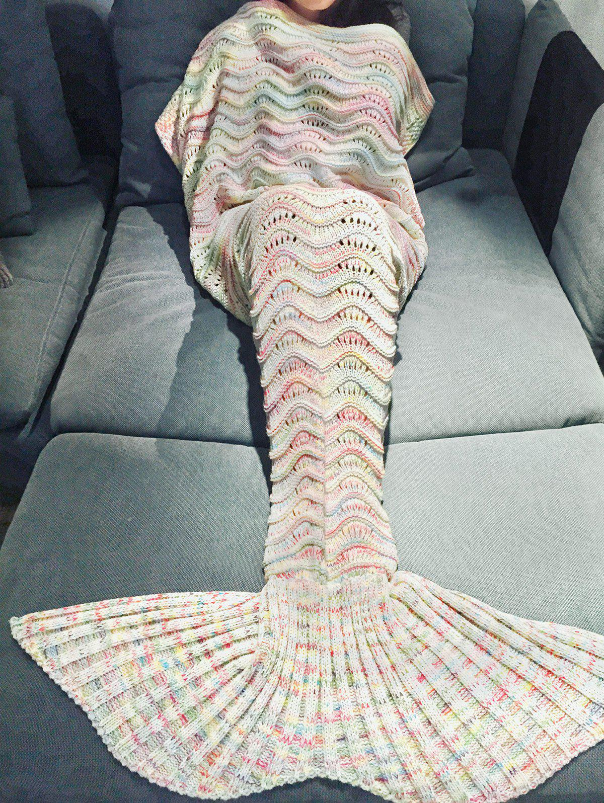 Handmade Knitted Mermaid Tail Design Blanket - OFF WHITE