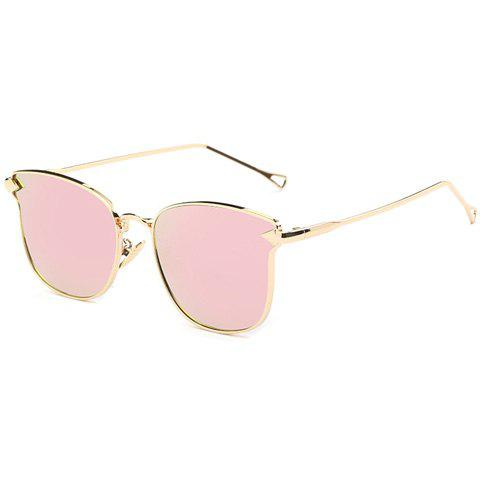 Stylish Women's Classic Flash Lens Metal Golden Cat Eye Mirrored Sunglasses - PINK