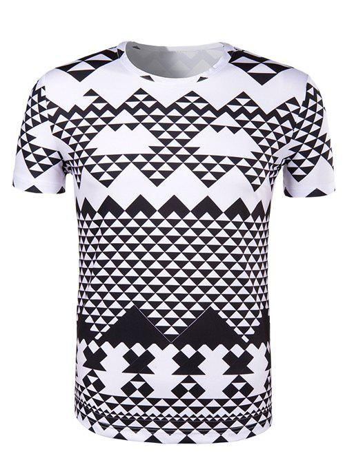 Irregular Geometric Print Round Neck Short Sleeve Men's T-Shirt trendy men s round neck geometric print short sleeve t shirt