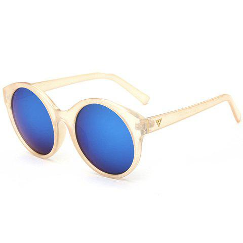 Stylish Women's Round Flash Lens Solid Color Frame Mirrored Sunglasses - CHAMPAGNE