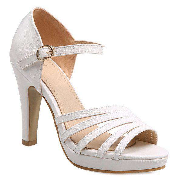 Simple Platform and Solid Colour Design Women's Sandals - WHITE 39