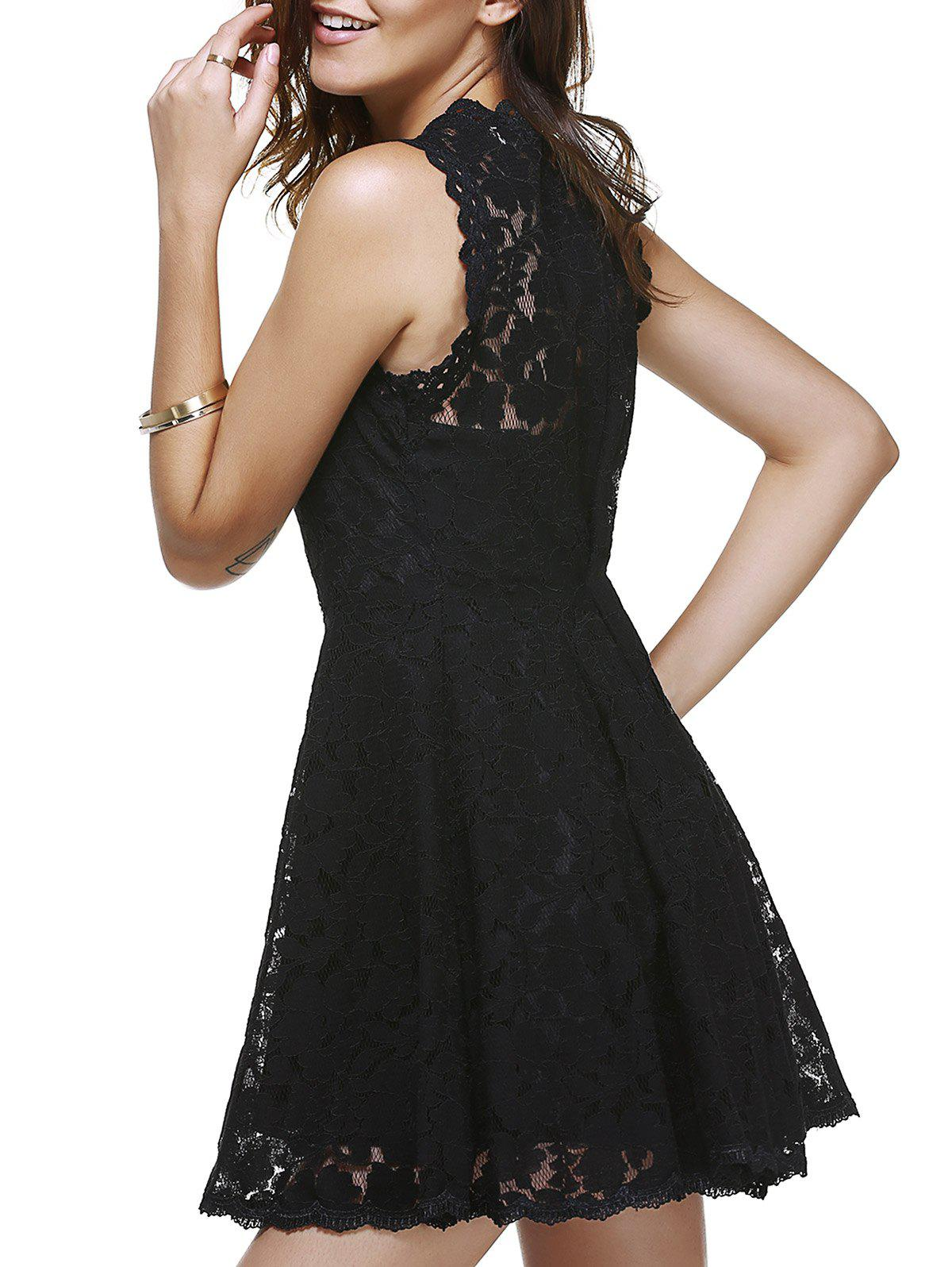 Brief Black Sleeveless Women's Lace Dress - BLACK ONE SIZE(FIT SIZE XS TO M)