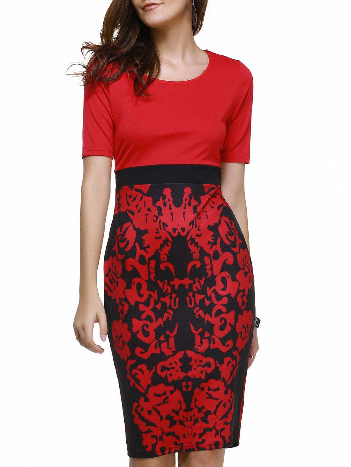 Fashionable Women's Scoop Neck Floral Print Bodycon Dress - RED 2XL