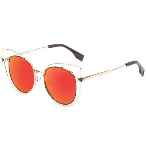 Stylish Women's Cut Out Street Fashion Two Color Match Cat Eye Mirrored Sunglasses - RED