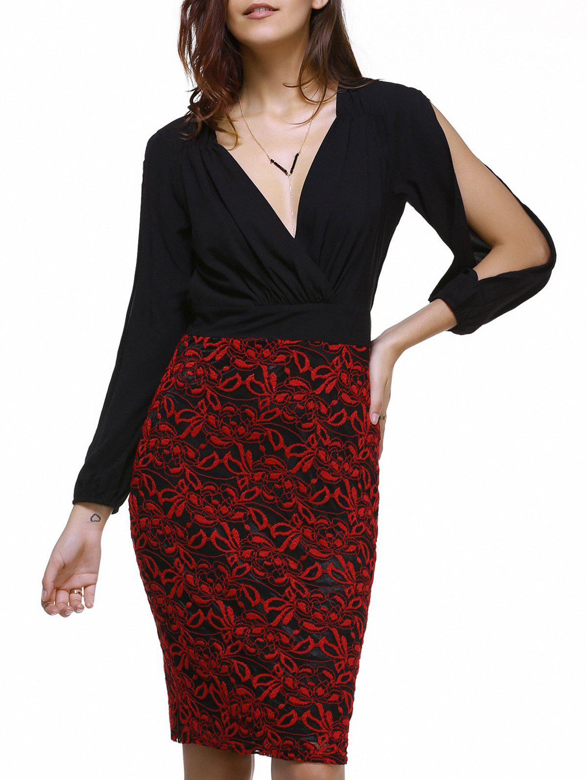 Fashionable Lace Splicing Plunging Neck Split Sleeve Dress For Women - BLACK S
