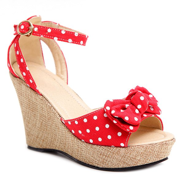Leisure Bowknot and Polka Dot Design Women's Sandals - RED 39