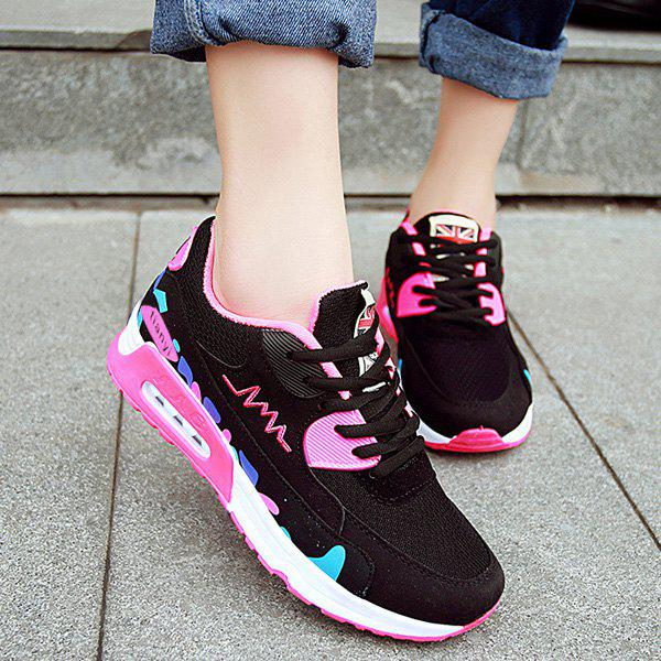 Trendy Color Block and Lace-Up Design Women's Athletic Shoes - PINK 39