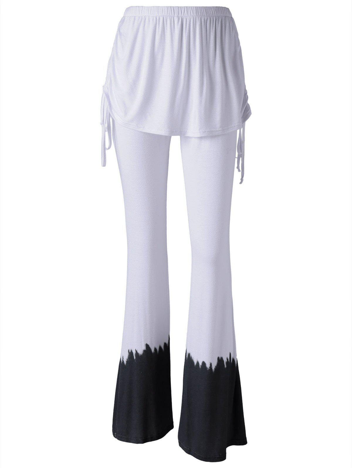Leisure Tie-Dye Flared Faux Twinset Pants For Women - WHITE L