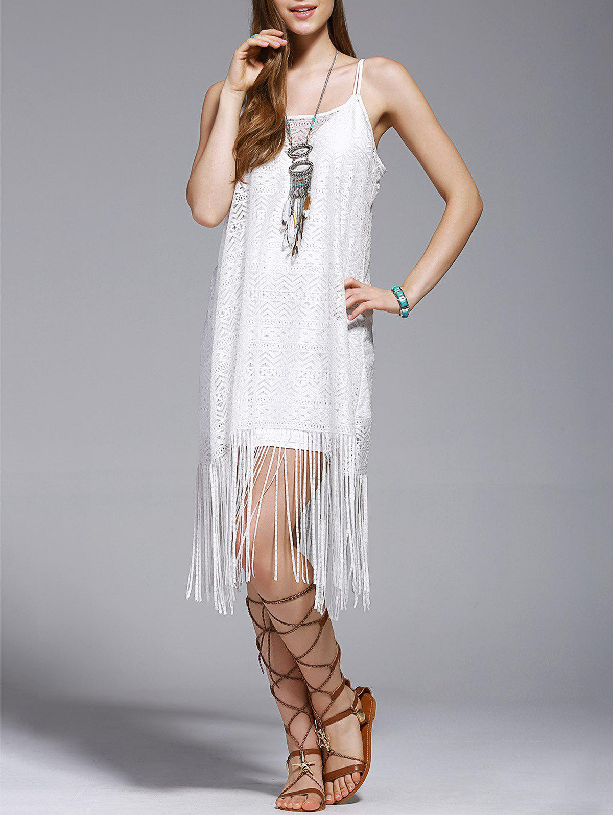 Stylish Tassel Spaghetti Straps Hollow Out Dress For Women - WHITE S