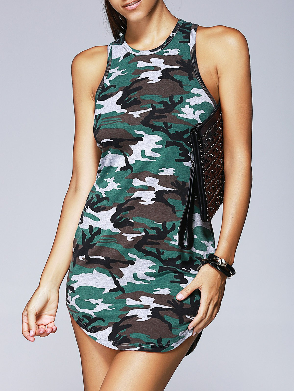 Fashionable Woman's Round Collar Camouflage Printing Tight Dress - COLORMIX L