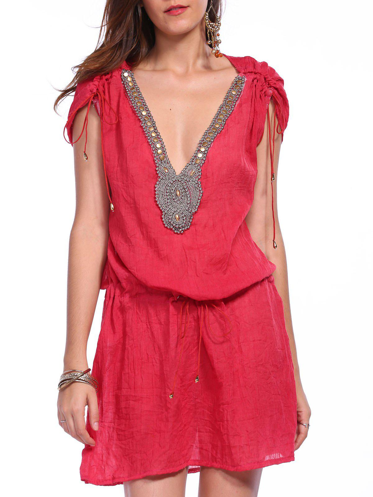 Sexy Plunging Neck Short Sleeve Beaded Drawstring Women's Cover-Up - RED L