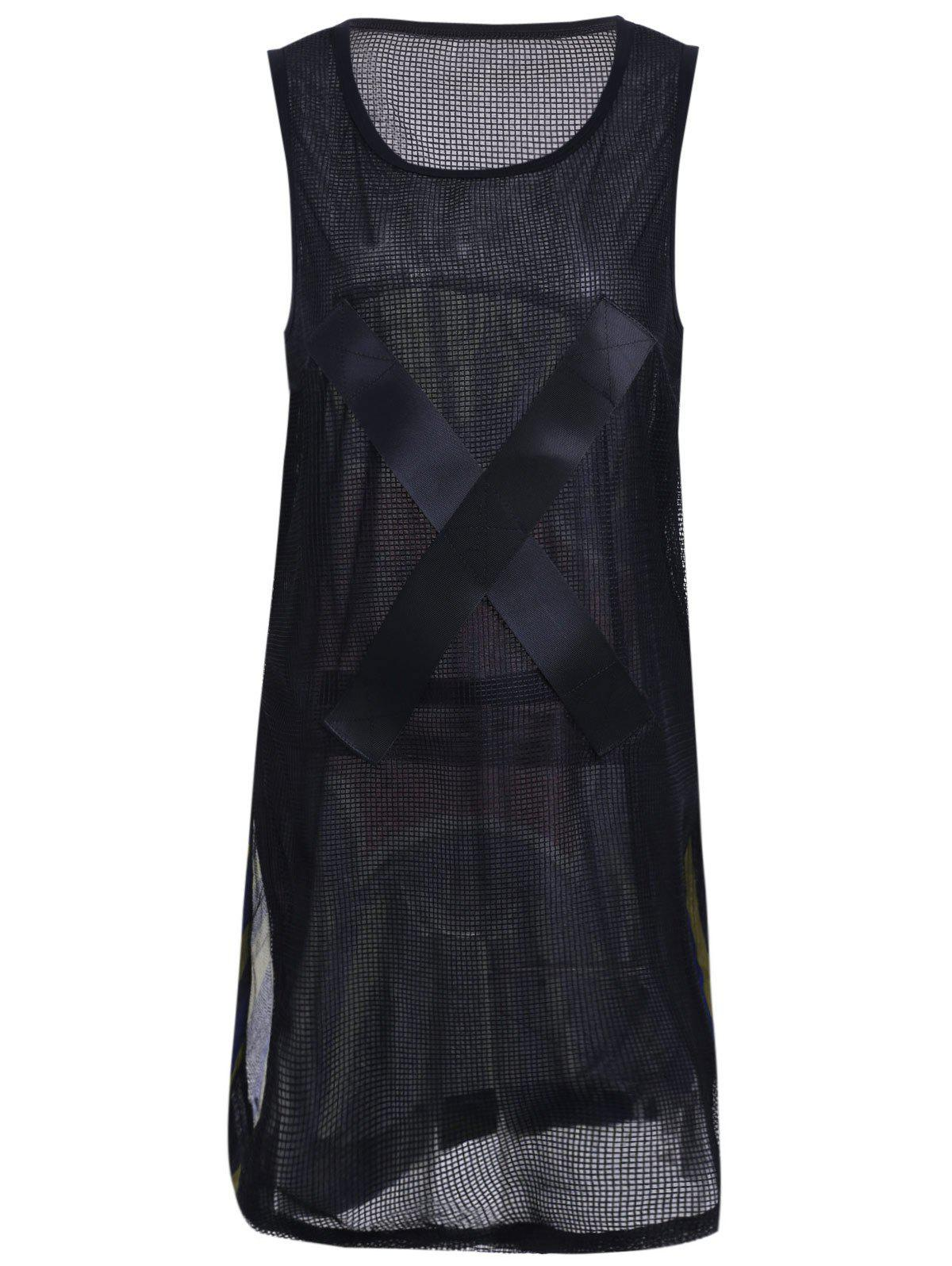 Women's Graceful Print Voile Spliced Tank Dress - BLACK ONE SIZE(FIT SIZE XS TO M)