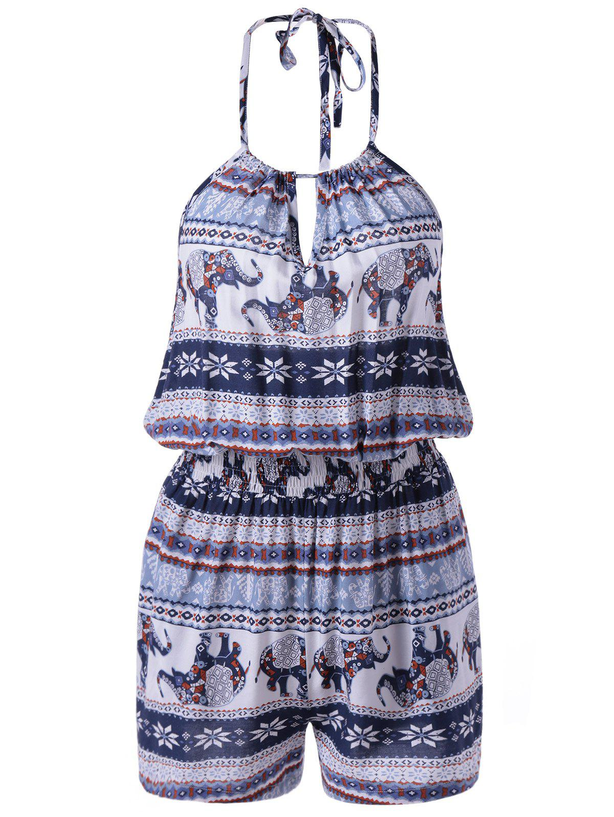 Simple Style Women's National Design Spaghetti Strap Print Romper - COLORMIX XL