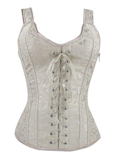 Lace Up V Neck Corset - APRICOT XL