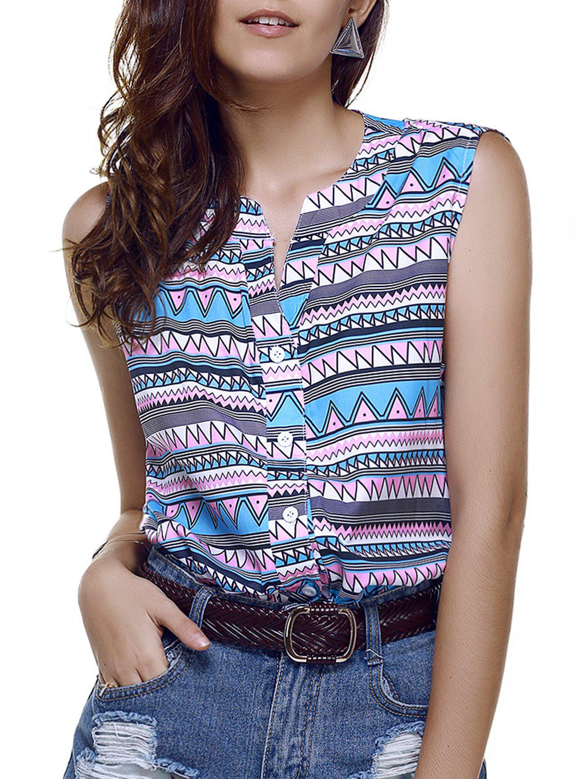 Casual Single-Breasted Colormix Zigzag Women's Chiffon Tank Top