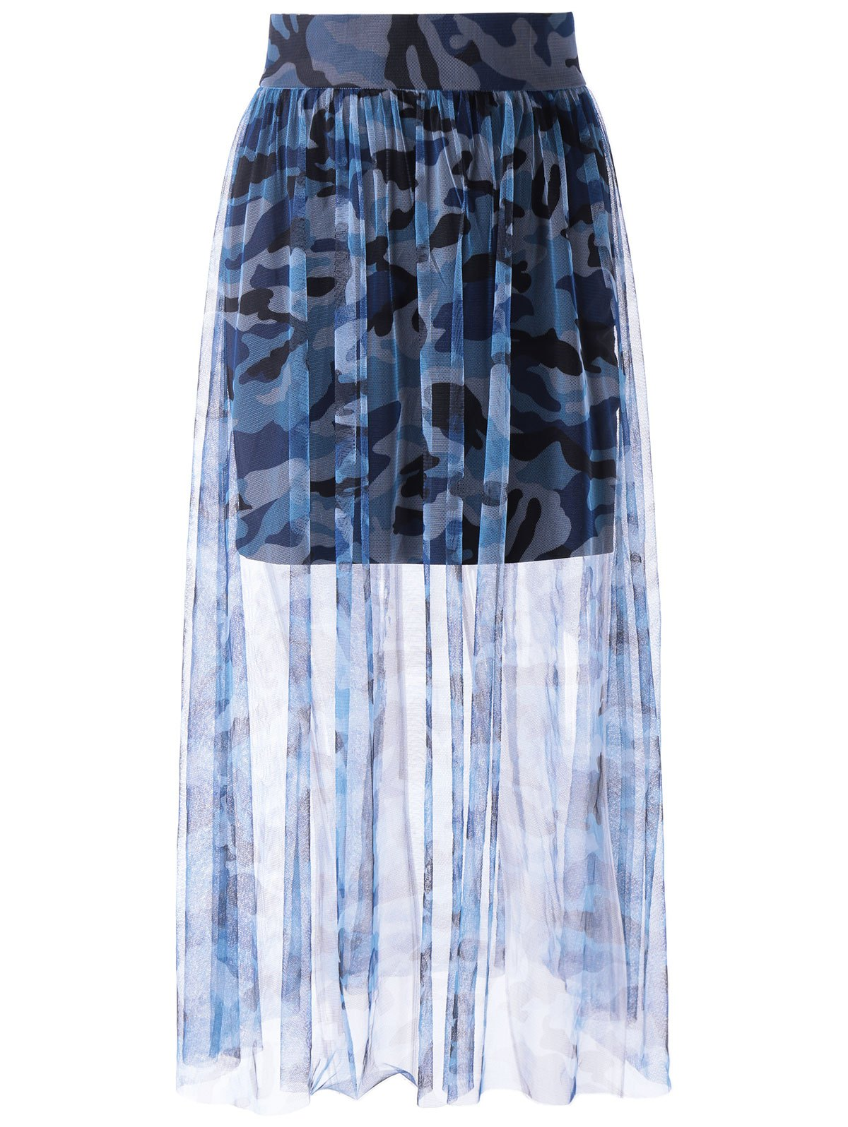 Fashionable Camo Printing Tulle Grenadine Skirt For Women - COLORMIX S