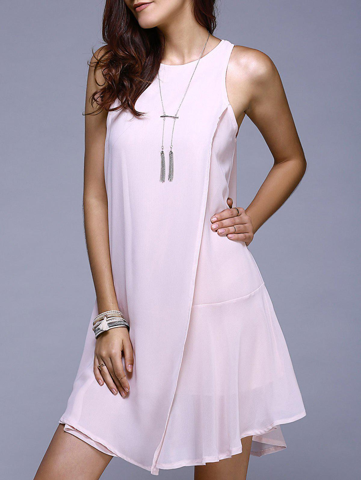 Mini Asymmetric Swing Dress - LIGHT PINK S