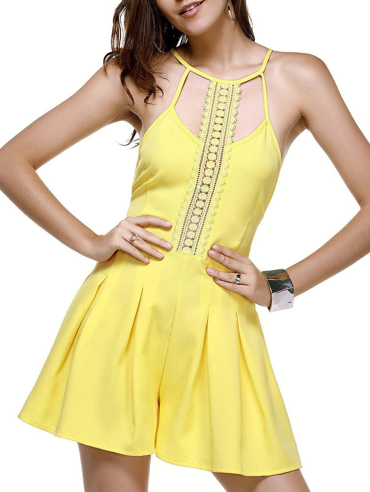 Trendy Lace Spliced Hollow Out Yellow Romper For Women - XL YELLOW