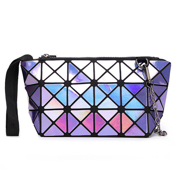 Trendy Chains and Geometric Design Women's Clutch Bag - PURPLE