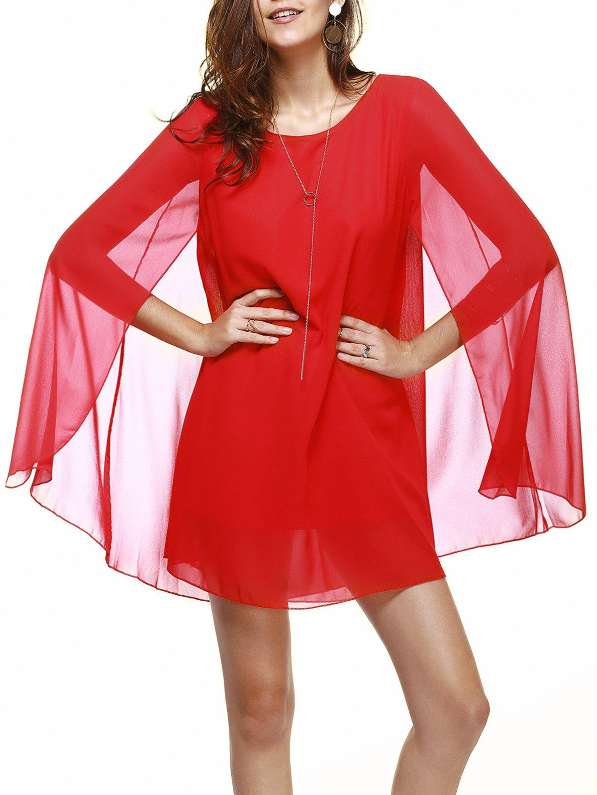 Trendy Jewel Neck Chiffon Red Dress For Women - RED XL