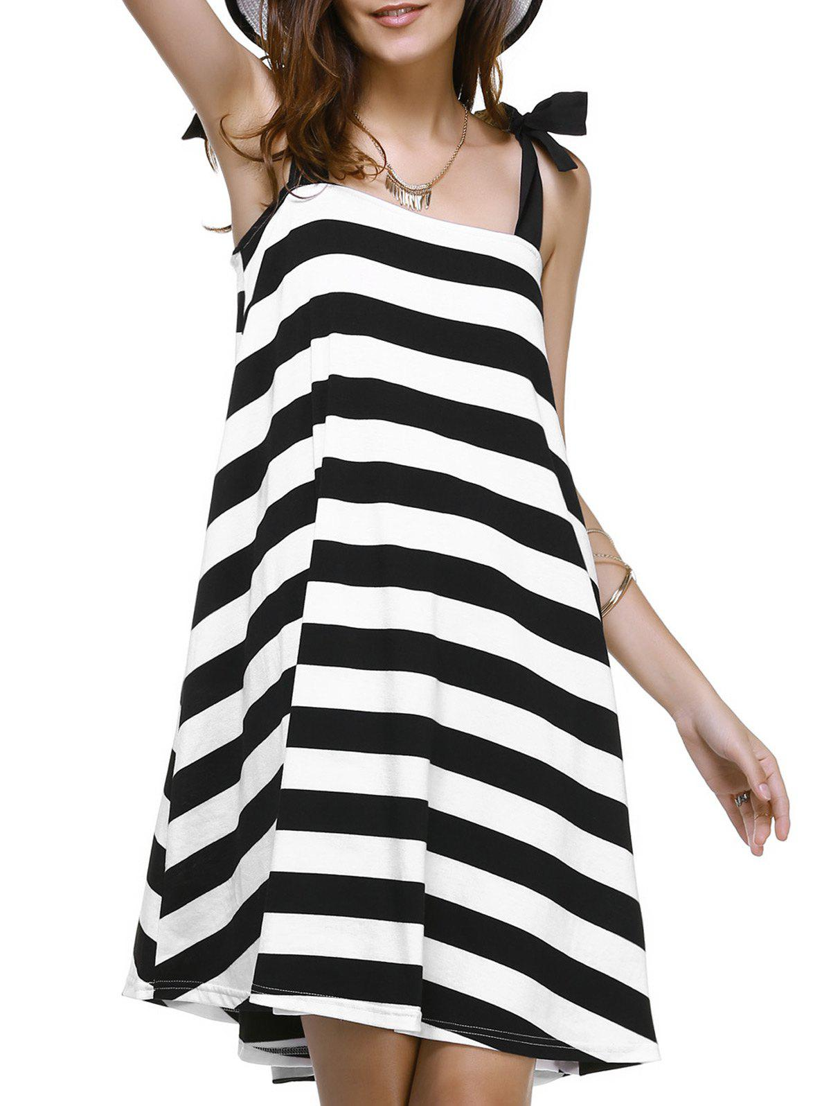 Sleeveless Bowknot Stripe Mini Swing Dress - WHITE/BLACK M