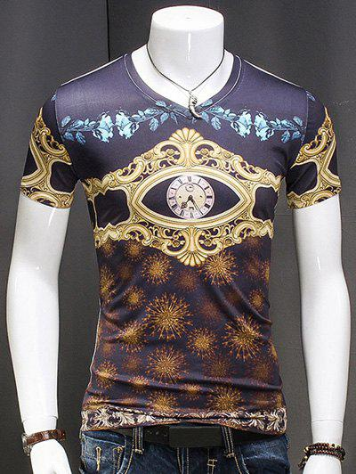 Men's V Neck AbstractPrinted Short Sleeves T-Shirt - COLORMIX M