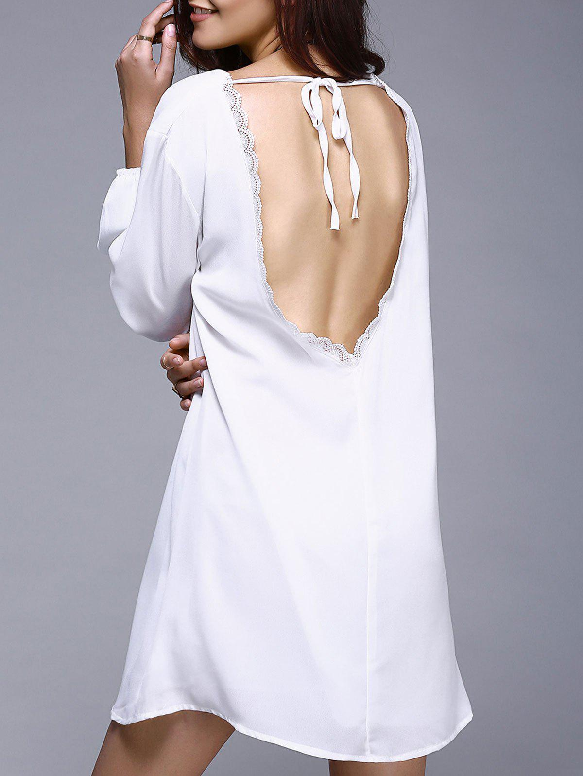 Trendy Open Back Loose-Fitting White Dress For Women - WHITE XL