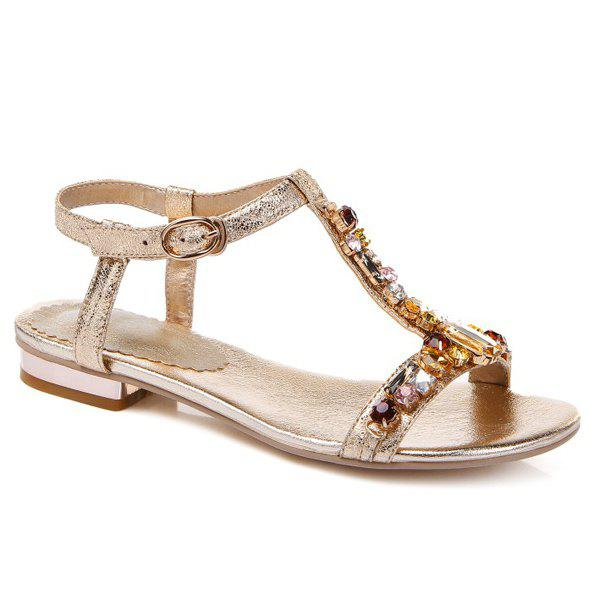 Sweet Flat Heel and Color Diamond Design Women's Sandals - GOLDEN 38