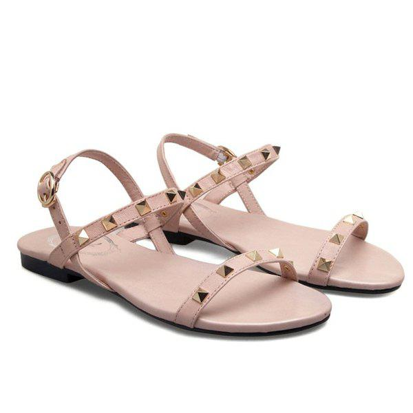 Concise Metal Rivets and Solid Color Design Women's Sandals - PINK 39