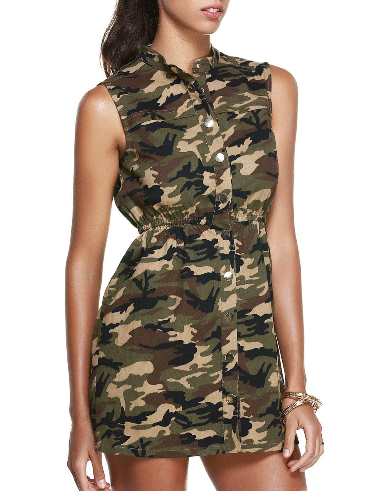 Casual Women's Stand Collar Sleeveless Camo Dress - L CAMOUFLAGE