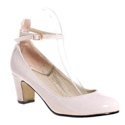 Simple Ankle Strap and Chunky Heel Design Women's Pumps - LIGHT APRICOT 39