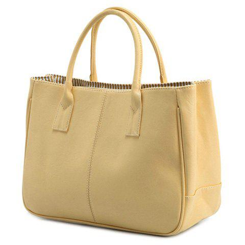 Simple Candy Color and PU Leather Design Women's Tote Bag, Beige
