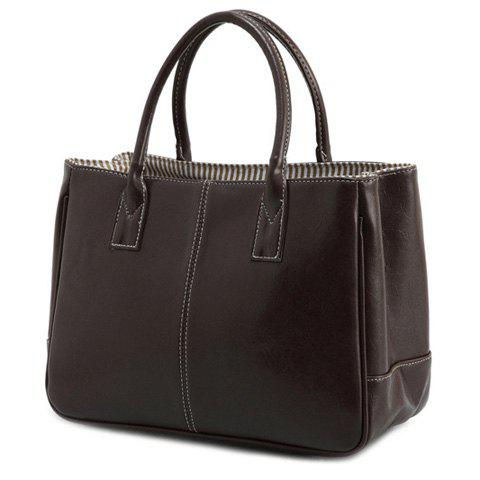 Simple Candy Color and PU Leather Design Women's Tote Bag - DEEP BROWN
