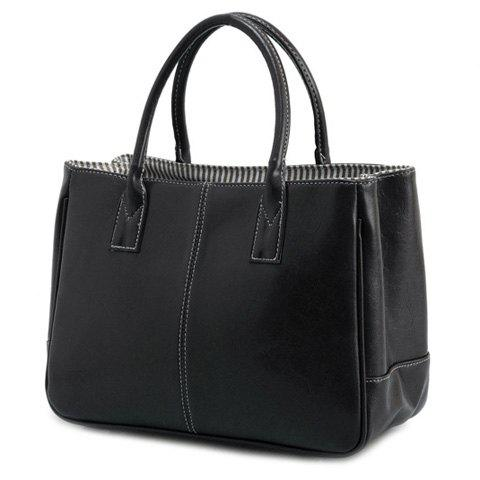 Simple Candy Color and PU Leather Design Women's Tote Bag - BLACK