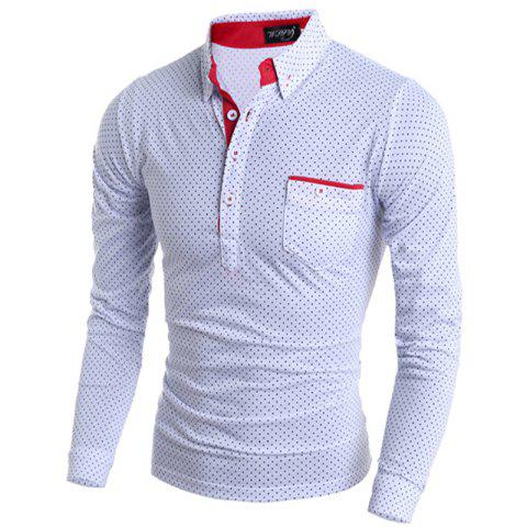 Stylish Turn-dwon Collar One Pocket Polka Dot Print Long Sleeves Polyester T-Shirt For Men - WHITE XL