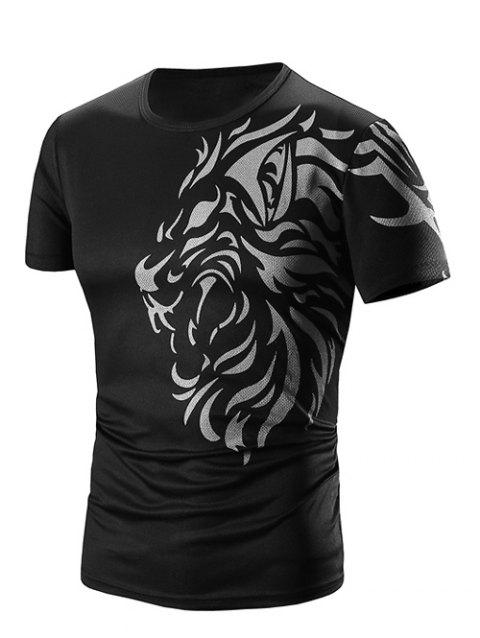 f7e4a64c276 17% OFF  2019 Men s Round Neck Printed Short Sleeve T-Shirt In BLACK ...