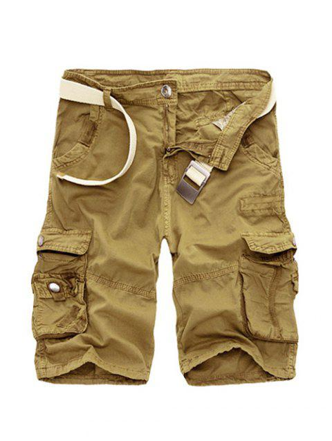 Cotton Blends Multi-Pockets Zipper Fly Straight Leg Men's Cargo Shorts - KHAKI 40