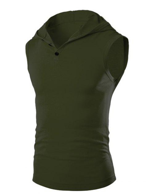 Men's Casual Hooded Solid Color Tank Top - ARMY GREEN M