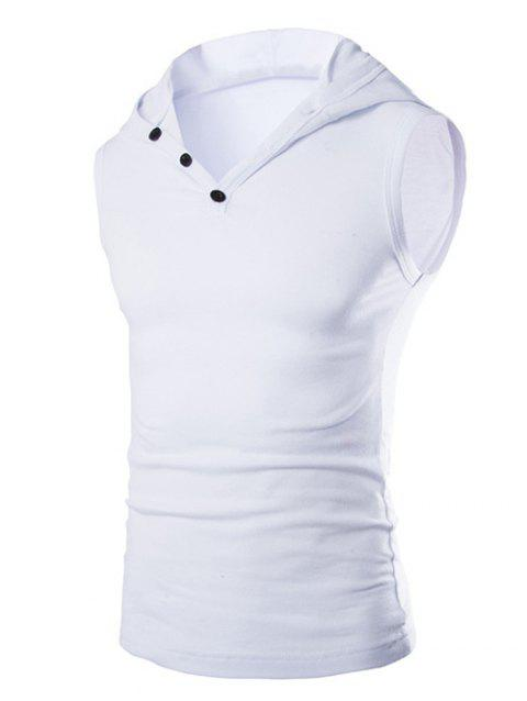 Men 's Casual capuche Tank Top Solid Color - Blanc 2XL
