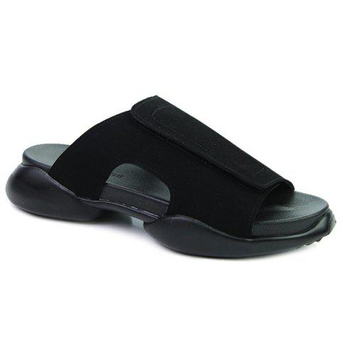 Casual Black and  Design Men's Slippers - BLACK 44