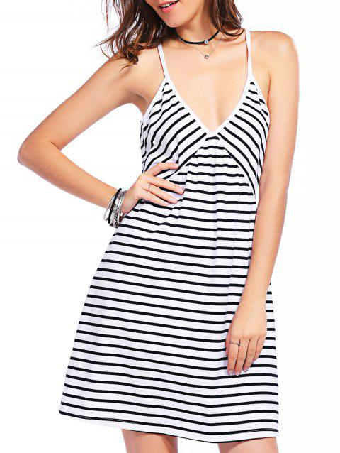 Fashionable Plunging Neck Striped Gallus Dress For Women - WHITE/BLACK S