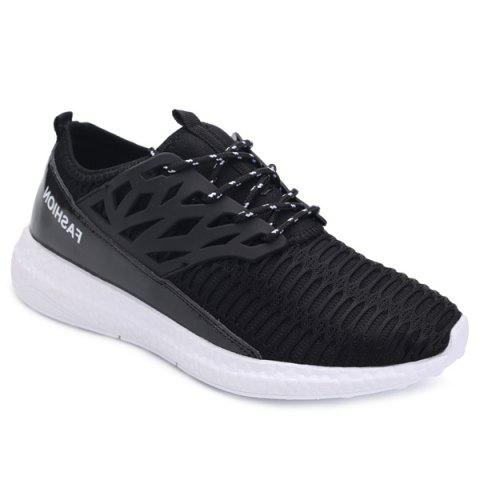 Trendy Hollow Out and Splicing Design Men's Athletic Shoes - BLACK 43