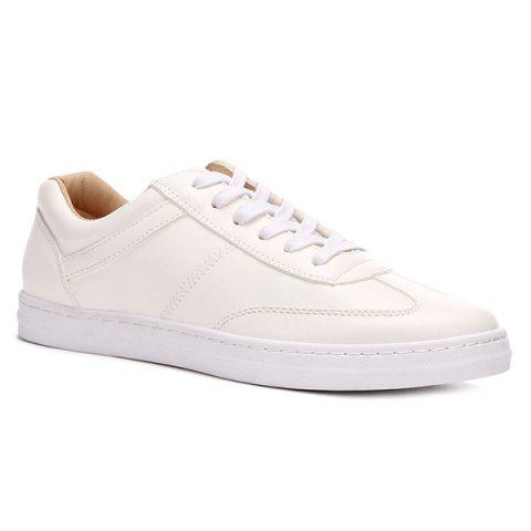 Concise Lace-Up and PU Leather Design Men's Casual Shoes - WHITE 43