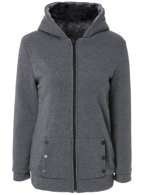 Stylish Women's Long Sleeves Solid Color Zippered Flocking Hoodie